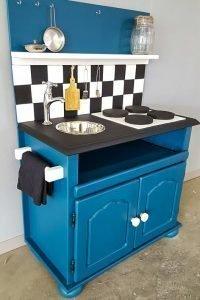 Blauw keukenblokje van houtwaarde Heerhugowaard