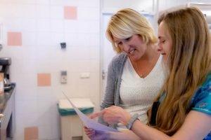 Kirsten en shirley lezen een recept
