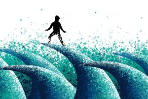 figuur op woelige golven
