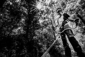 Werken met een bosmaaier in het Geestmerambacht Cluster Fetura