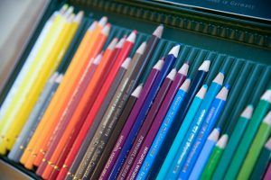 potloden in een doos