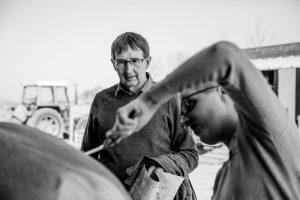 Dik kijkt hoe een paard verzorgd wordt