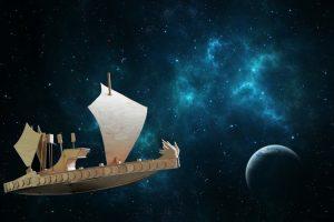 Zeilschip van hout door de ruimte